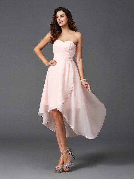 A-Line/Princess Sweetheart Ruffles High Low Chiffon Bridesmaid Dress