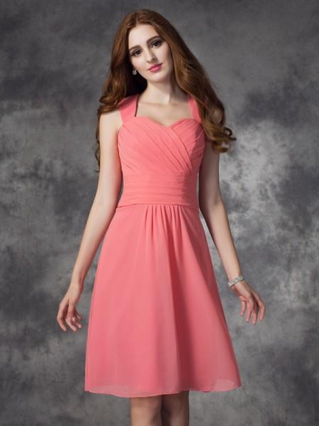 A-line/Princess Straps Ruched Short Chiffon Bridesmaid Dress