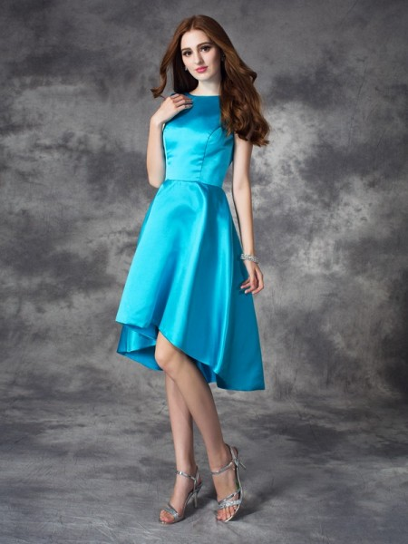 A-line/Princess Bateau Ruffles High Low Satin Bridesmaid Dress