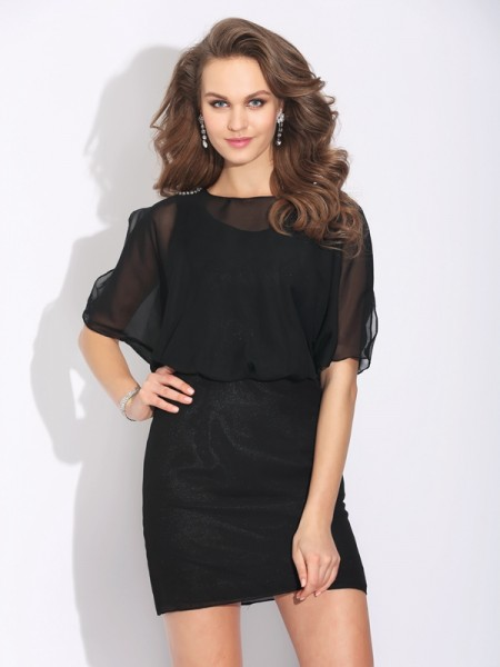A-Line/Princess Jewel Beading 1/2 Sleeves Short Chiffon Dress