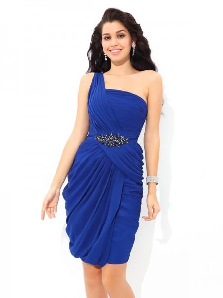 Sheath/Column One-Shoulder Pleats Short Chiffon Cocktail Dress