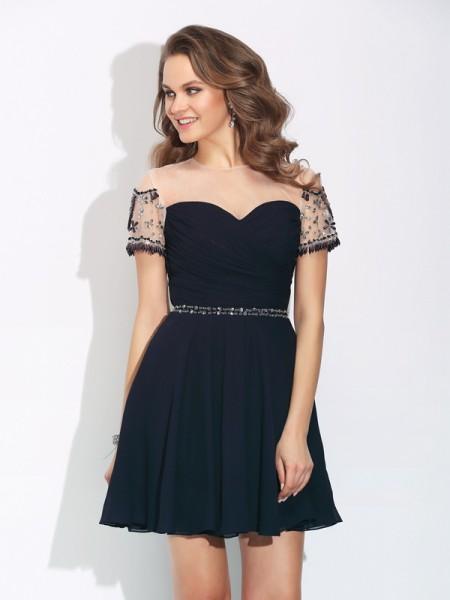 A-Line/Princess Jewel Beading Short Sleeves Short Chiffon Dress