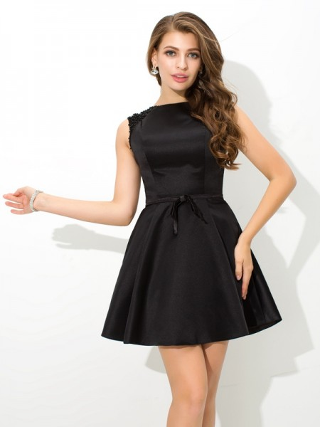 A-Line/Princess High Neck Sash/Ribbon/Belt Satin Cocktail Dress