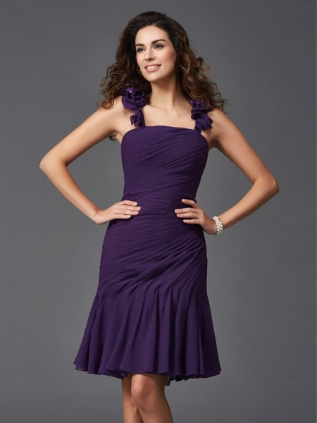 Sheath/Column Straps Ruched Short Chiffon Cocktail Dress