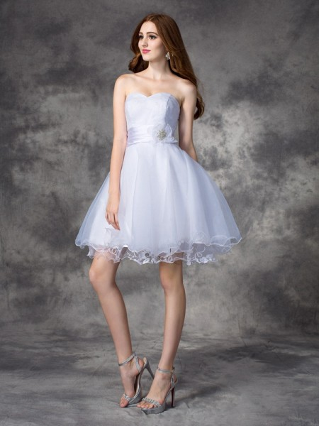 A-line/Princess Sweetheart Ruffles Short Organza Dress