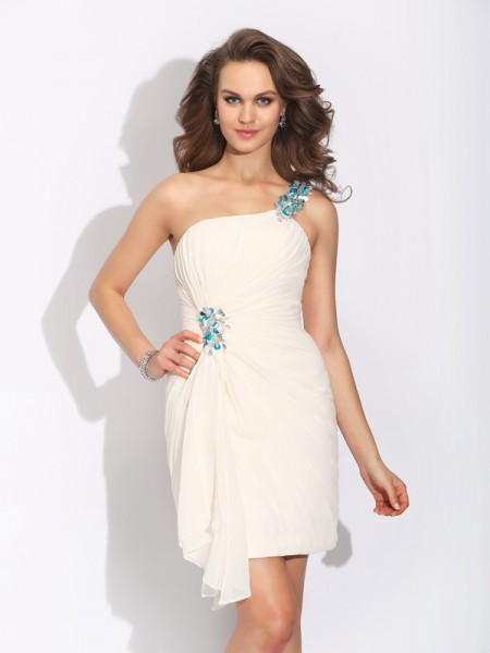 Sheath/Column One-Shoulder Beading Short Chiffon Dress