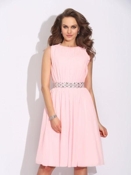 A-Line/Princess Jewel Ruffles Short Chiffon Dress