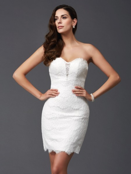 Sheath/Column Sweetheart Lace Short Lace Dress