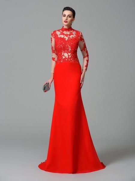 Trumpet/Mermaid High Neck Applique Long Sleeves Chiffon Dress