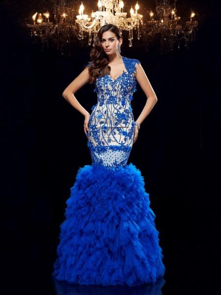 Trumpet/Mermaid Sweetheart Applique Long Net Dress