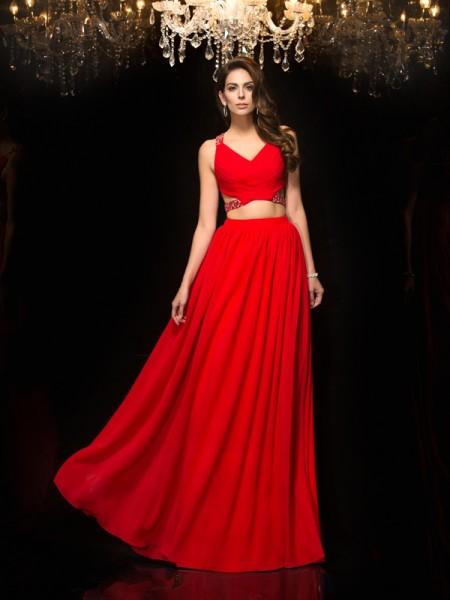 A-Line/Princess V-neck Beading Chiffon Two Piece Dress