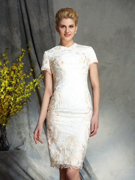 Sheath/Column Jewel Lace Short Sleeves Short Lace Mother of the Bride Dress