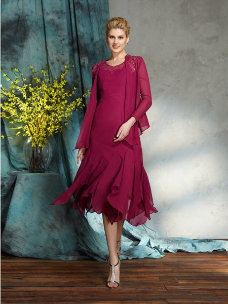 A-Line/Princess Scoop Applique Short Chiffon Mother of the Bride Dress