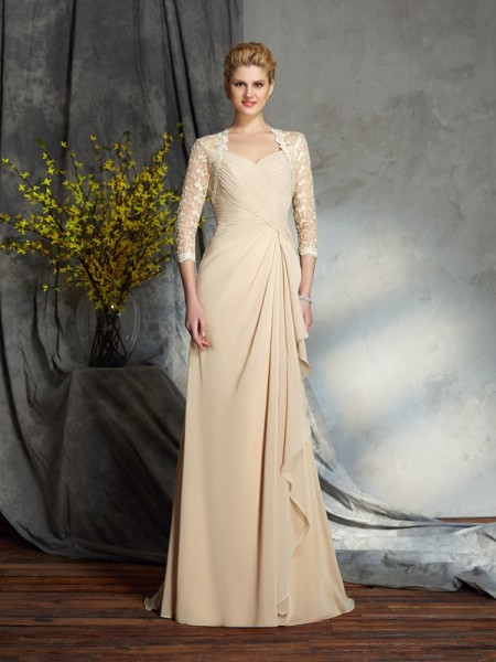 A-Line/Princess Sweetheart Lace 3/4 Sleeves Chiffon Mother of the Bride Dress