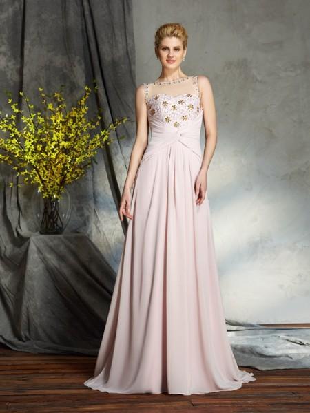 A-Line/Princess Bateau Applique Chiffon Mother of the Bride Dress