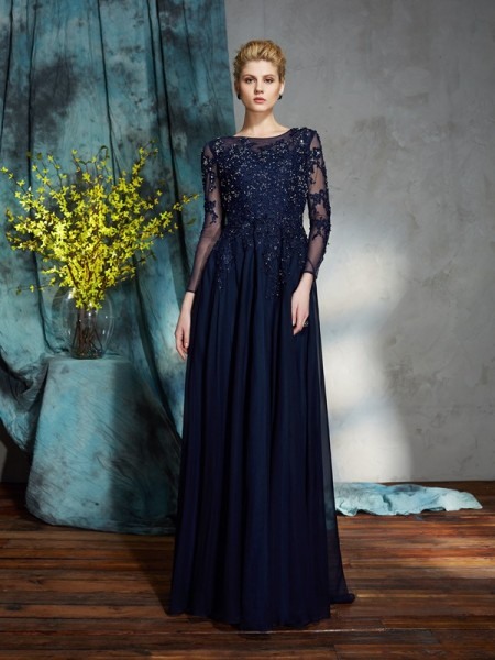 529ca280d6ae A-Line Princess Scoop Applique 3 4 Sleeves Long Chiffon Mother of the Bride  Dresses