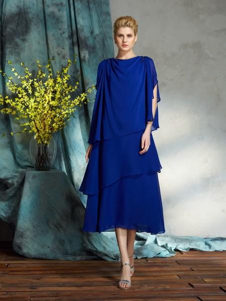 A-Line/Princess Bateau Applique Short Chiffon Mother of the Bride Dress