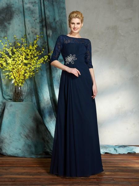 A-Line/Princess Bateau Beading 1/2 Sleeves Chiffon Mother of the Bride Dress