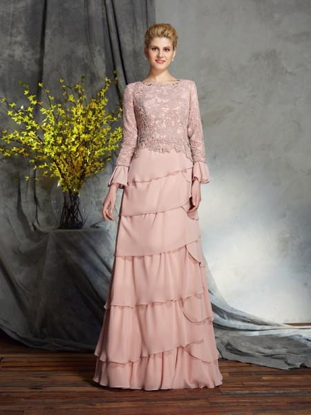 Sheath/Column Scoop Ruffles Long Sleeves Chiffon Mother of the Bride Dress