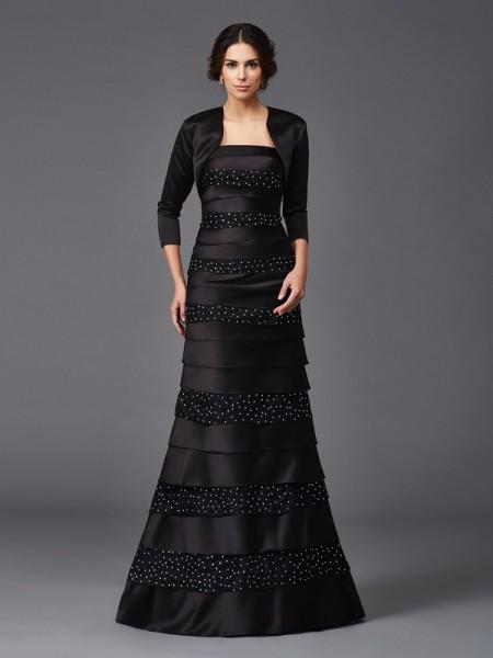 Sheath/Column Strapless Beading Satin Mother of the Bride Dress