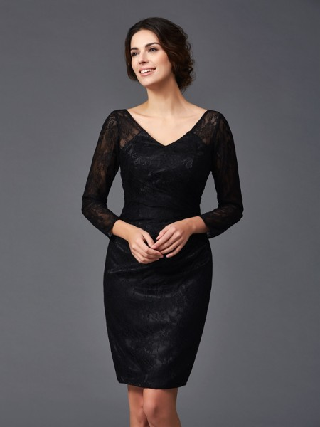 Sheath/Column V-neck Lace Long Sleeves Short Elastic Woven Satin Mother of the Bride Dress