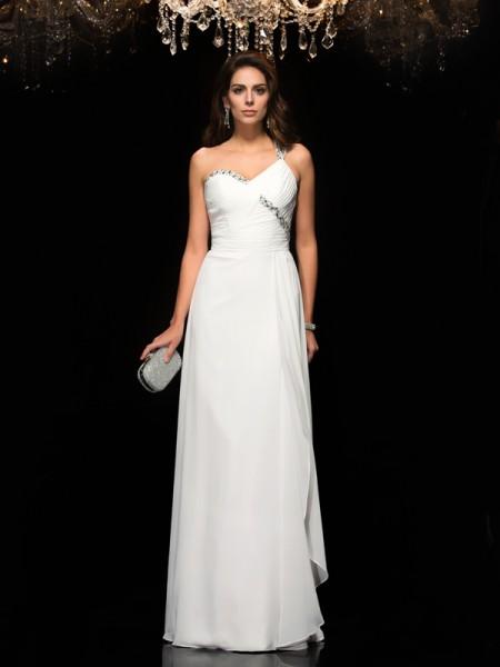 A-Line/Princess One-Shoulder Beading Chiffon Dress