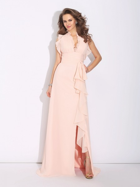 A-Line/Princess High Neck Ruffles Chiffon Dress