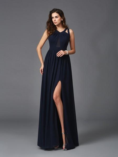 A-Line/Princess Straps Chiffon Dress