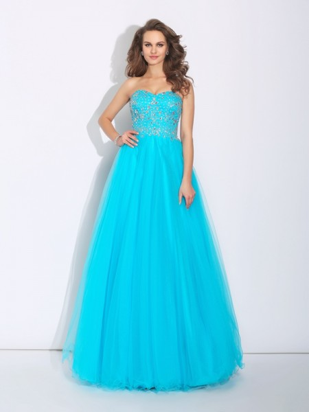 A-Line/Princess Sweetheart Rhinestone Satin Dress