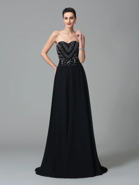 A-Line/Princess Sweetheart Beading Chiffon Dress