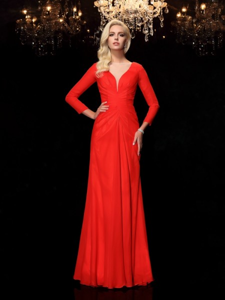 Sheath/Column Bateau Ruched Long Sleeves Chiffon Dress