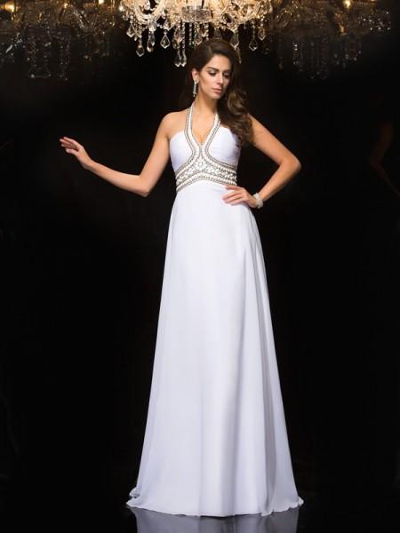 A-Line/Princess Halter Chiffon Dress