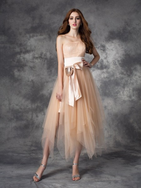 A-line/Princess Strapless Bowknot Elastic Woven Satin Dress