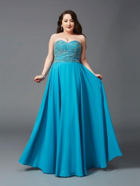 A-Line/Princess Sweetheart Beading Chiffon Plus Size Dress