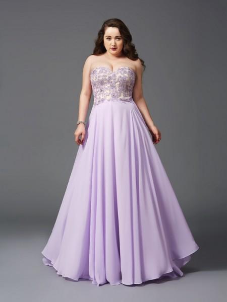 A-Line/Princess Sweetheart Lace Chiffon Plus Size Dress