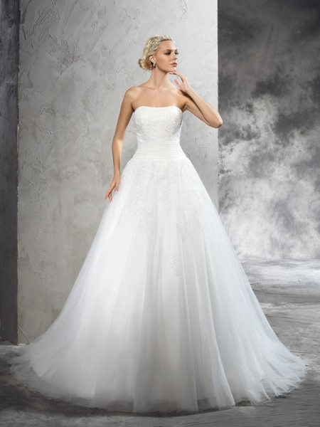 Ball Gown Strapless Applique Satin Wedding Dress