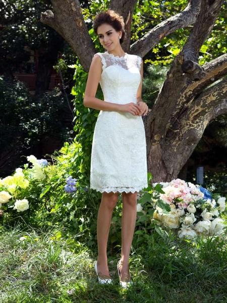 A-Line/Princess Sheer Neck Applique Satin Wedding Dress