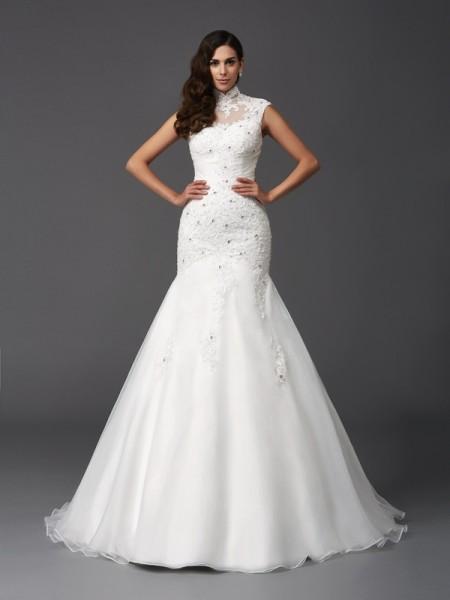 Trumpet/Mermaid High Neck Beading Long Organza Wedding Dress