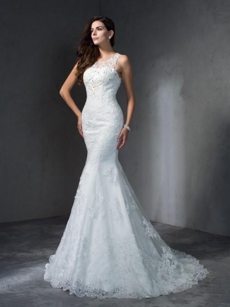 Trumpet/Mermaid Scoop Applique Lace Wedding Dress
