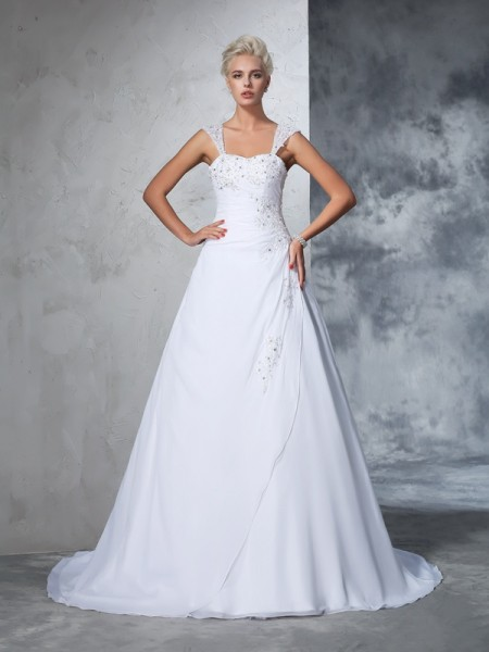 Ball Gown Straps Applique Chiffon Wedding Dress