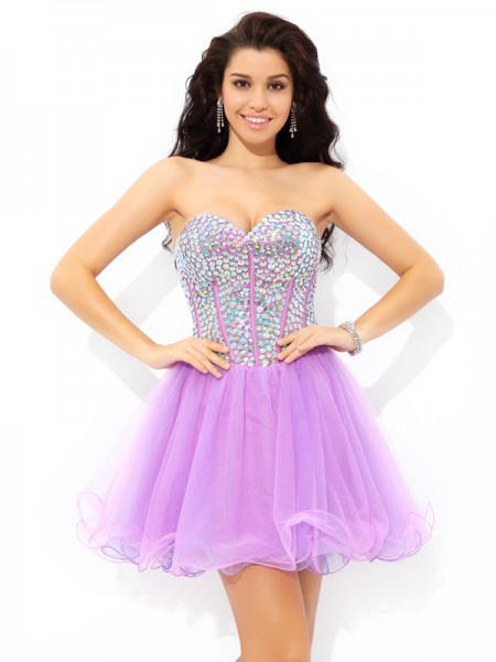 A-Line/Princess Sweetheart Paillette Short Net Cocktail Dress
