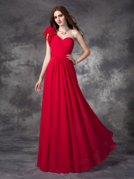 A-line/Princess One-Shoulder Chiffon Dress