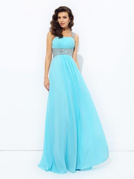 A-line/Princess Straps Sequin Chiffon Dress