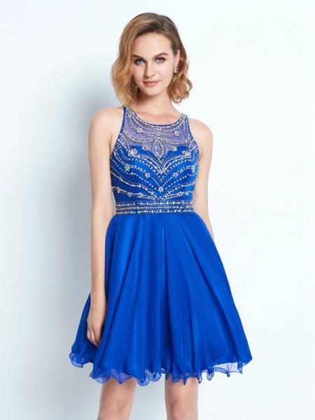A-Line/Princess Scoop Chiffon Short/Mini Dress