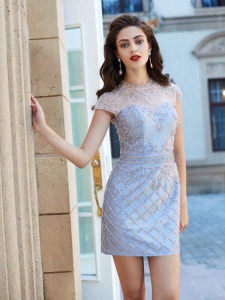 Sheath/Column Jewel Satin Short/Mini Dress