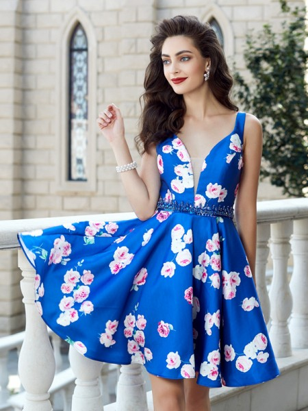 A-Line/Princess Straps Short/Mini Crystal Satin Dress