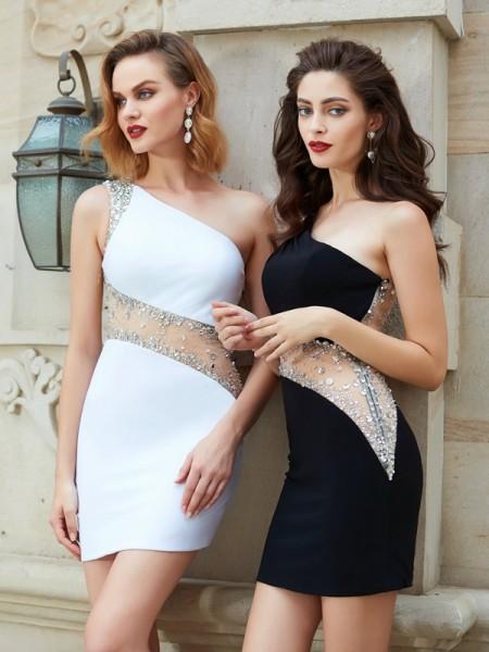 Sheath/Column One-Shoulder Short/Mini Net Dress