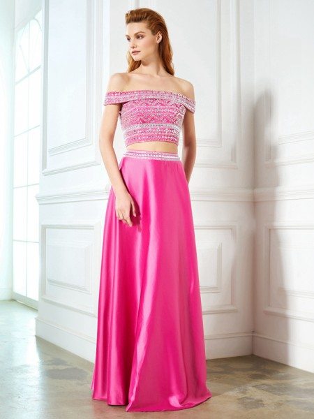 A-Line/Princess Off-the-Shoulder Satin Floor-Length Two Piece Dress