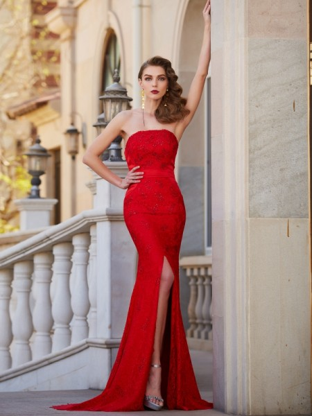 Trumpet/Mermaid Strapless Sweep/Brush Train Satin Dress