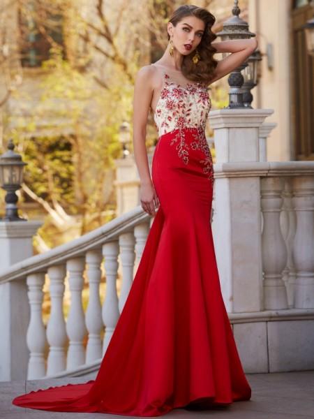 Trumpet/Mermaid Sheer Neck Court Train Applique Stain Dress